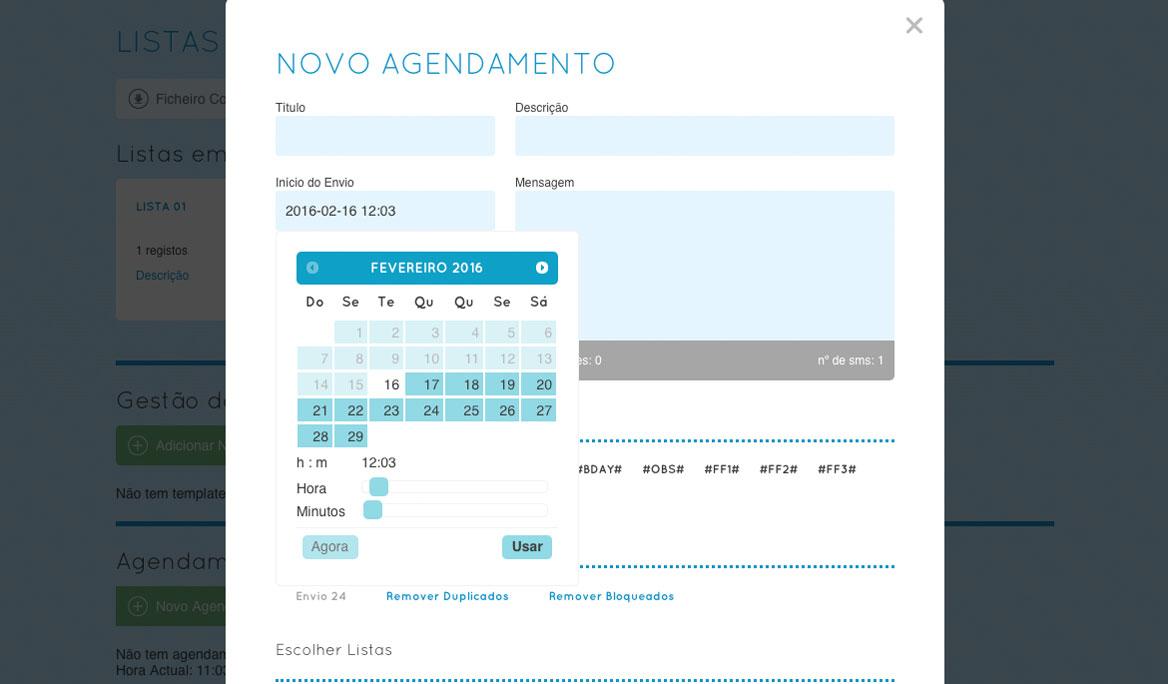 Agendamento de mensagens para hora especifica